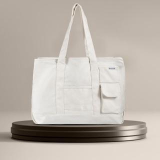 PRIME TIME盛时定制帆布托特包 时尚大容量多口袋托特包(米白色)