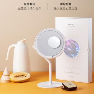 Amiro化妆镜 mini2便携网红台式桌面led带灯光高清美妆卧室收纳镜子(极简白 长续航版 带放大镜款)