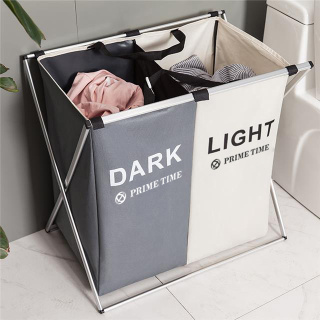 PRIME TIME盛时定制家用脏衣服分类收纳筐 折叠多格脏衣分类收纳篮置物架(双格 灰+白)