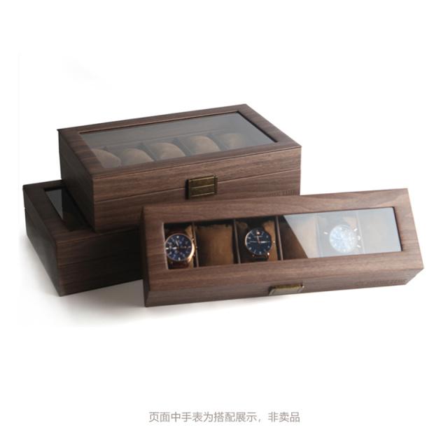 PRIME TIME盛时定制六表位手表盒 简约时尚木纹皮手表展示盒六位手表收纳盒