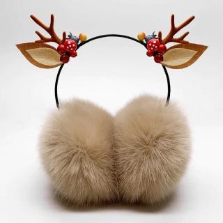 耳罩保暖耳套圣诞鹿角耳罩