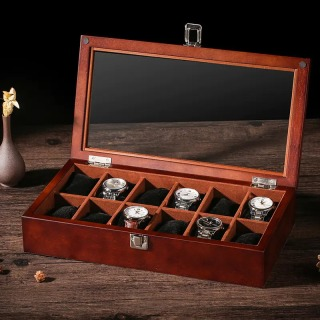 木質天窗手表盒木制手表收納盒子多表位收藏盒展示盒帶鎖扣12表位