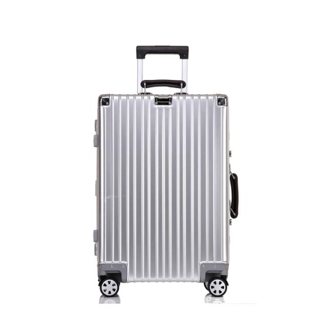 26寸全铝合金行李箱 复古款镜面万向轮旅行箱(太空银)