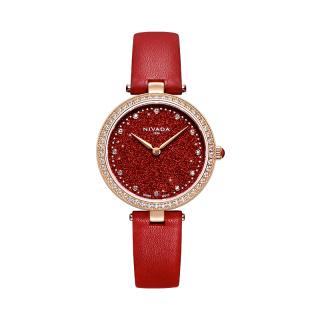 尼维达 NIVADA 星空系列 品牌腕表满天星镶锆石星粉表盘皮带女士石英手表礼盒酒红 N816189386752 石英 女款