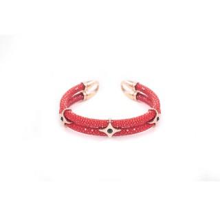 罗伊珍珠鱼皮双圈手环红色女款KMS0340