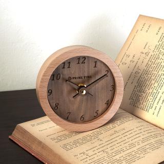 PRIME TIME盛时定制榉木实木小台钟 桌面摆钟实木床头座钟迷你小钟表北欧创意装饰